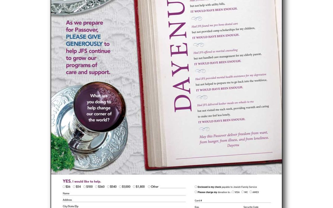 Jewish Family Service Passover Direct Mail Campaign
